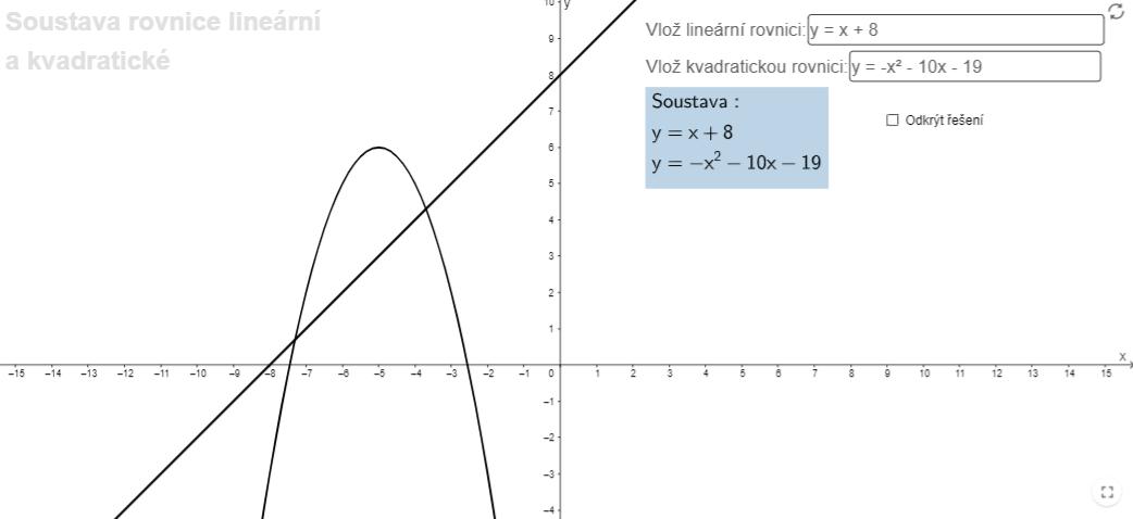 Soustava rovnice kvadratické a lineární