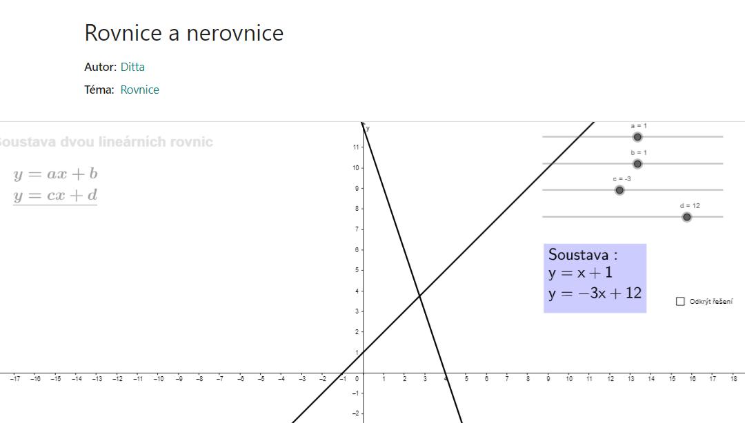 Soustava dvou lineárních rovnic